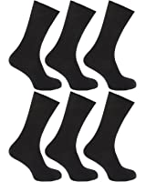 6 Pairs of Mens 100% Cotton LOOSE Wide Top Ribbed Non Elastic Socks by ALER / UK Sizes 6-11 and 11-13