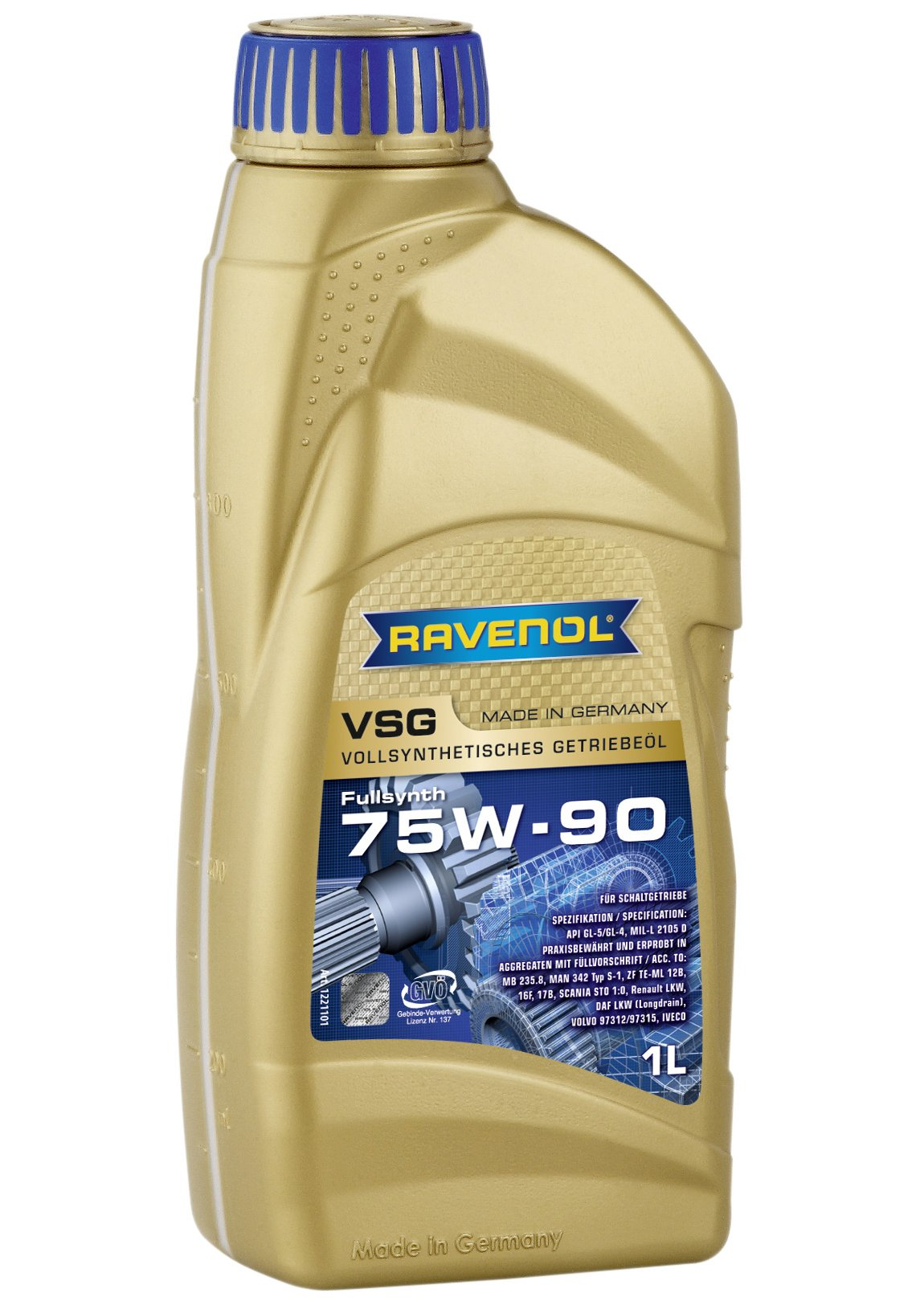 Ravenol J1C1109 SAE 75W-90 Gear Oil - VSG Full Synthetic API GL-4 / GL-5 Spec (1 Liter)