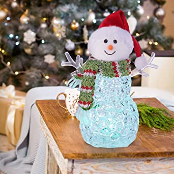 Snowman Christmas Lights Ornament 20cm Battery Operated Color Changing Light Led Acrylic Christmas Figurines Decorations With Knitted Hat And Scarf For Home Decoration 1 Pcs Red Hat Amazon Co Uk Lighting