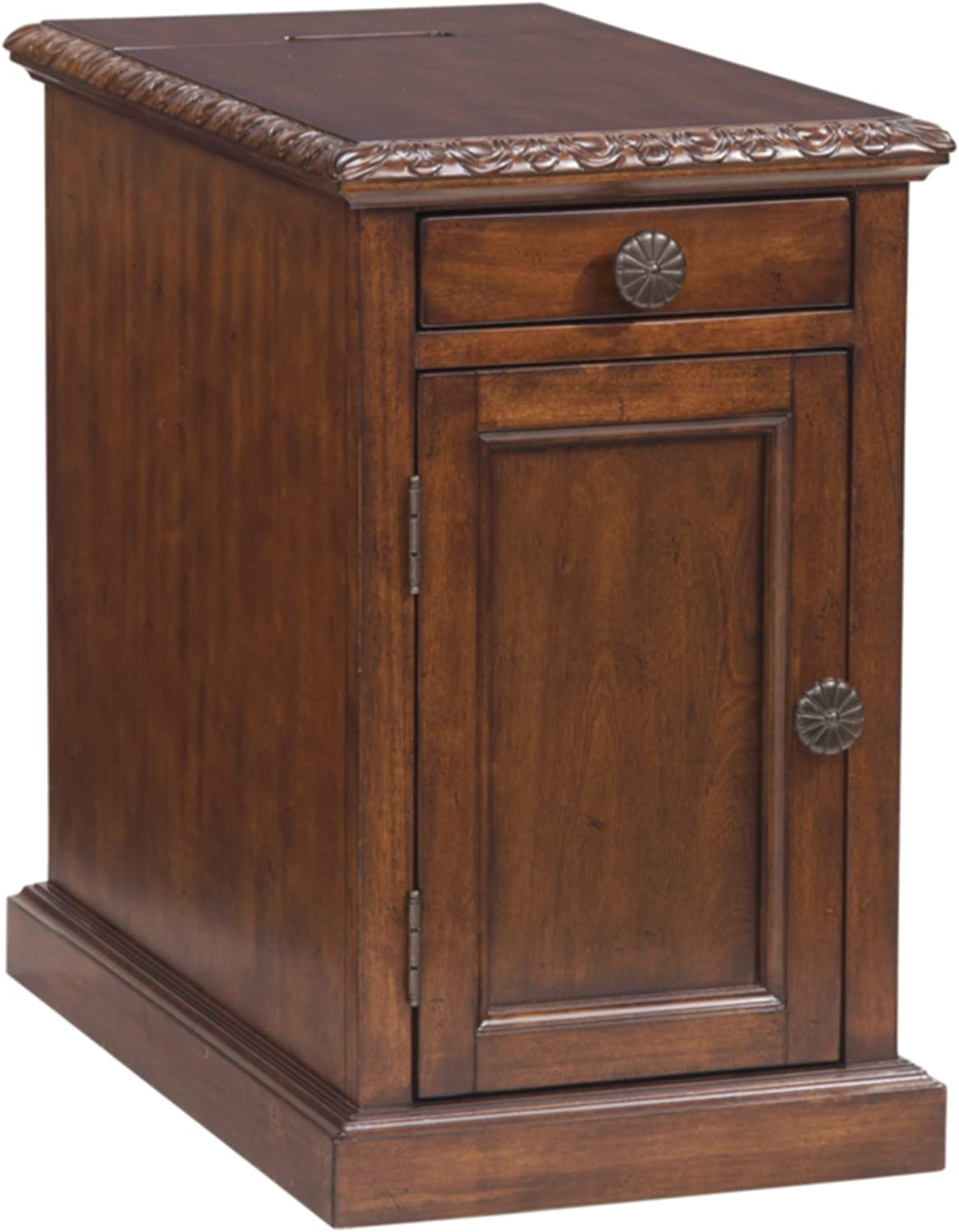 Signature Design by Ashley Laflorn Chairside End Table with USB Ports & Outlets - Dark Brown