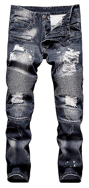 Targogo Mens Stung Biker Pantalones Vaqueros De Pantalones ...