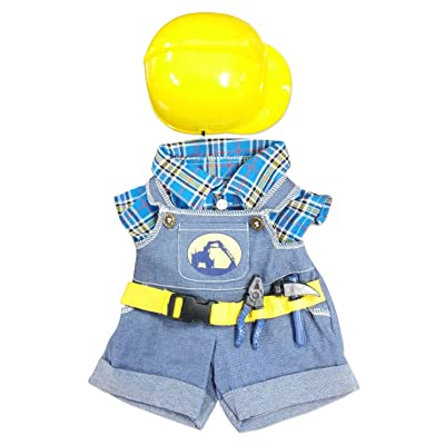 "NEW Construction Worker with Hard Hat Outfit Teddy Bear Clothes Fit 14"" - 18"" Build-a-bear, Vermont Teddy Bears, and Make Your Own Stuffed Animals: Toys & Games"