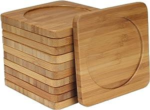 BambooMN Heavy Duty 100% Eco-Friendly Natural Bamboo Coasters - 3.75