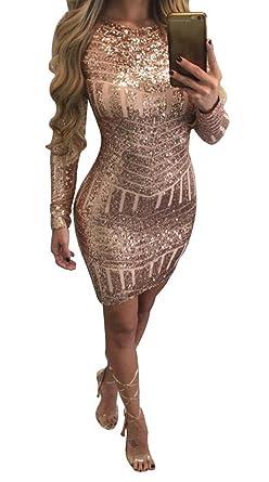 Damen Kleider, GJKK Damen Elegantes Paillettenkleid Langarm O-Ausschnitt  Backless Enges Kleid Partykleid Ballkleid e0b129f844
