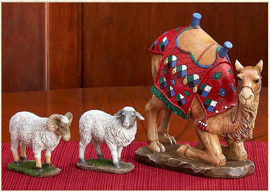 Set of 3 Kneeling Camel and Two Awassi Sheep Nativity Figurines - 10 inch Scale