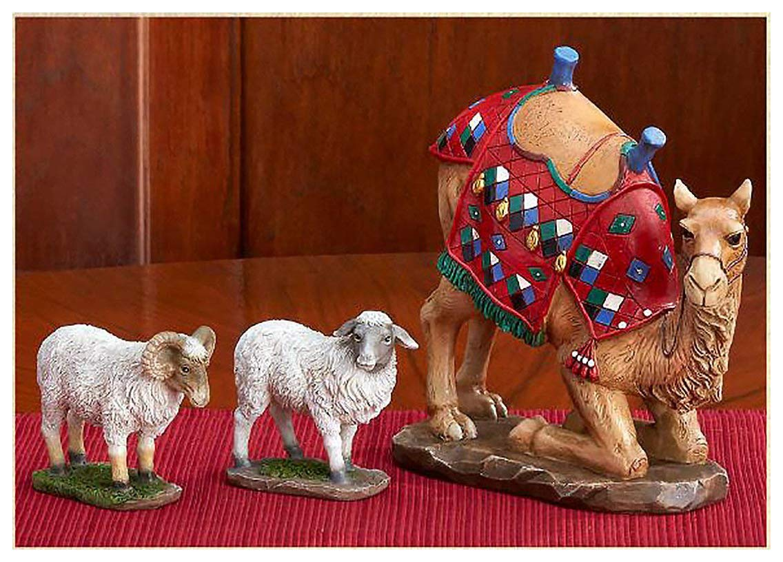 Kneeling Camel and Two Awassi Sheep Figurine Set of 3 for 10 inch Three Kings Nativity Set