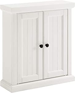 Crosley Furniture Seaside Wall Cabinet, Distressed White