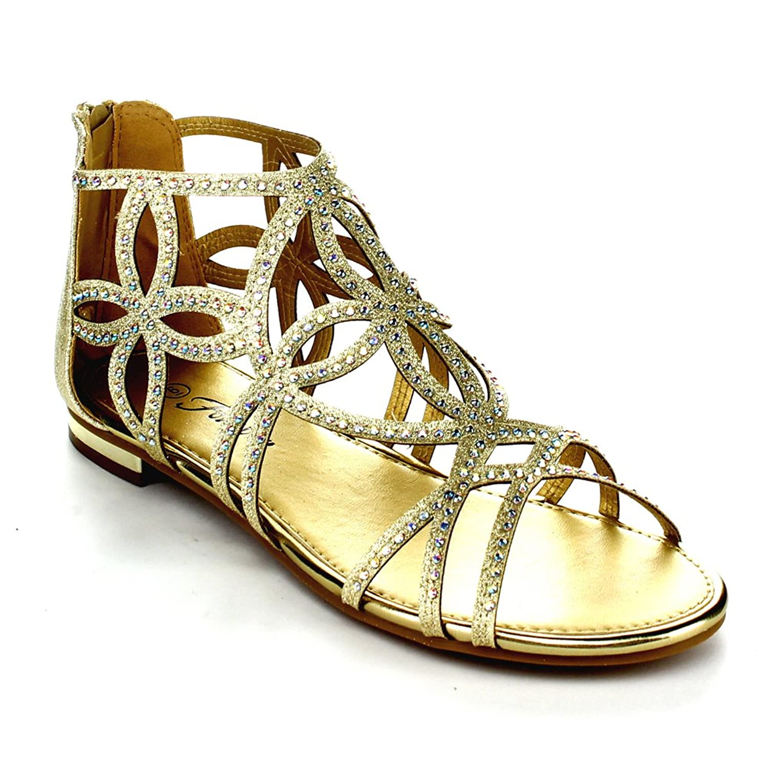 ba600ae73e65 Forever Tory-63 Womens Cut Out Back Zip Flat Sandals