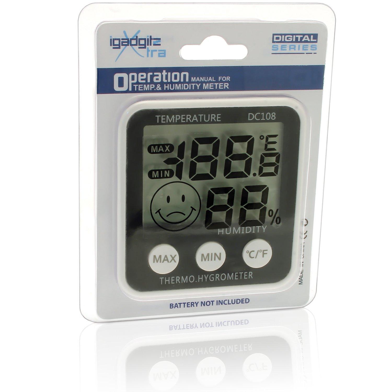 igadgitz Xtra Digital LCD Humedad Medidor Termómetro Higrómetro con Soporte + Iman De Nevera: Amazon.es: Electrónica