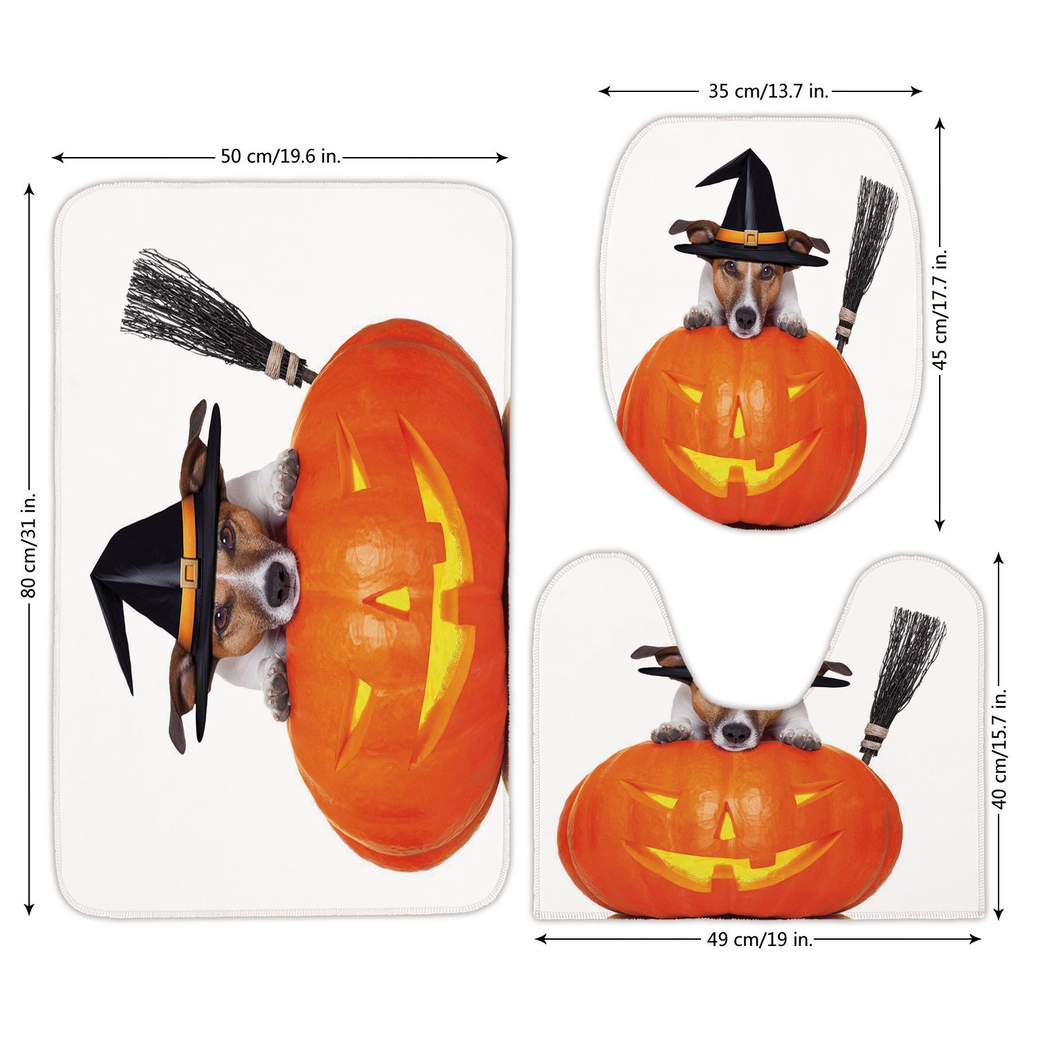 3 Piece Bathroom Mat Set,Halloween,Witch Dog with a Broomstick on Large Pumpkin Fun Humorous Hilarious Animal Print,Multicolor,Bath Mat,Bathroom Carpet Rug,Non-Slip