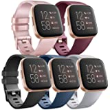 Pack 5 Silicone Bands Compatible with Fitbit Versa 2 / Fitbit Versa/Versa Lite/Versa SE, Classic Soft Replacement Sport Wrist