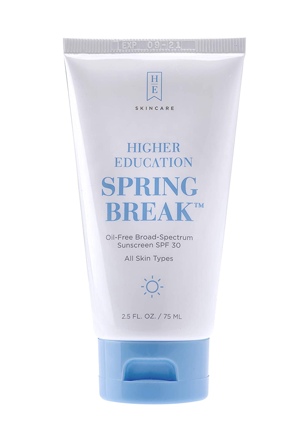 Higher Education Skincare: Spring Break SPF 30 - Oil-Free Sunscreen with Microfine Zinc Offering Broad Spectrum Sunscreen Protection from UVA/UVB; With Aloe Vera and Super Antioxidants - 2.5 fl. oz.