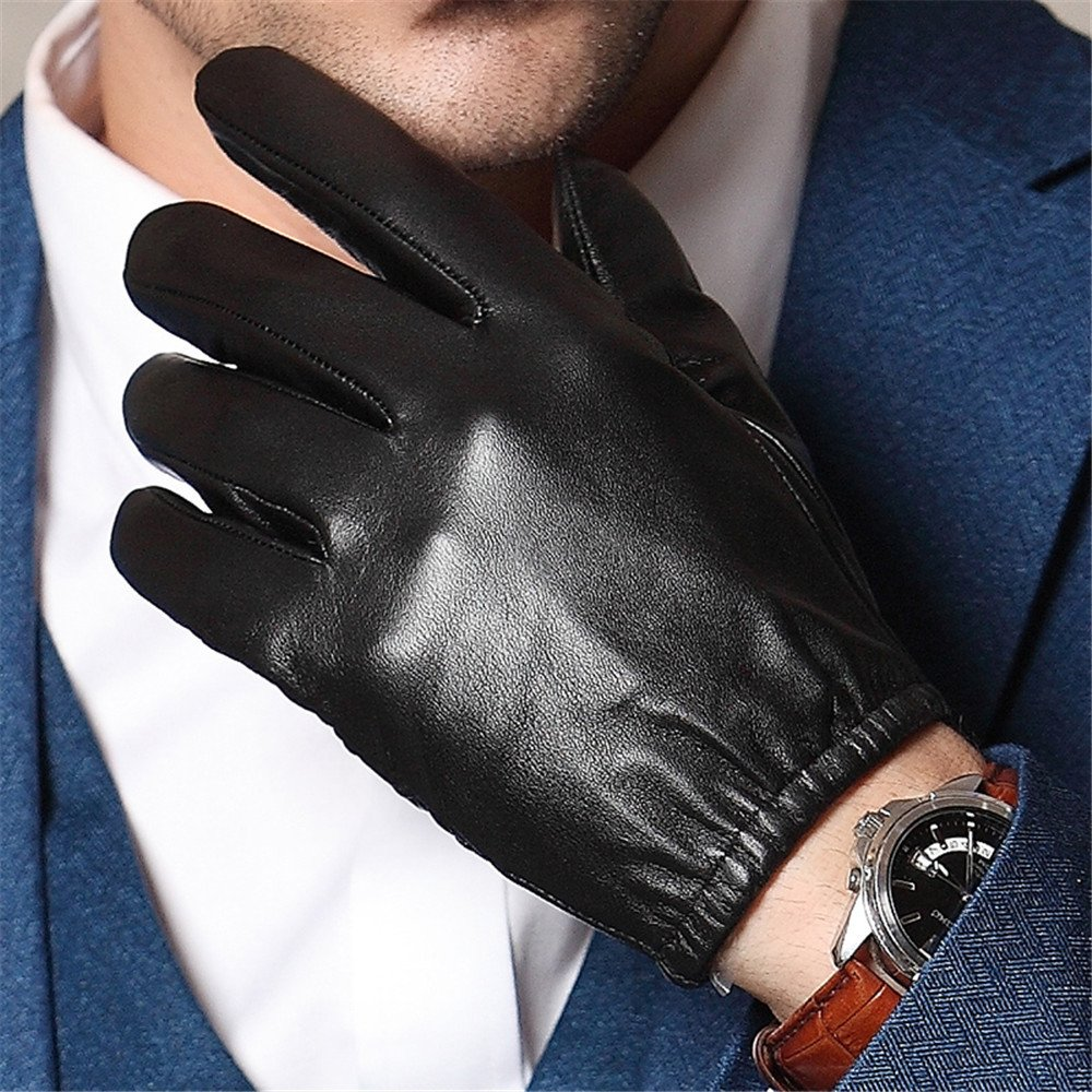 Mens Winter Soft Sheepskin Real Leather Gloves Touch-Screen Driving Warm Lining