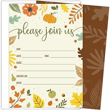 amazon com koko paper co fall invitations in autumn colors with