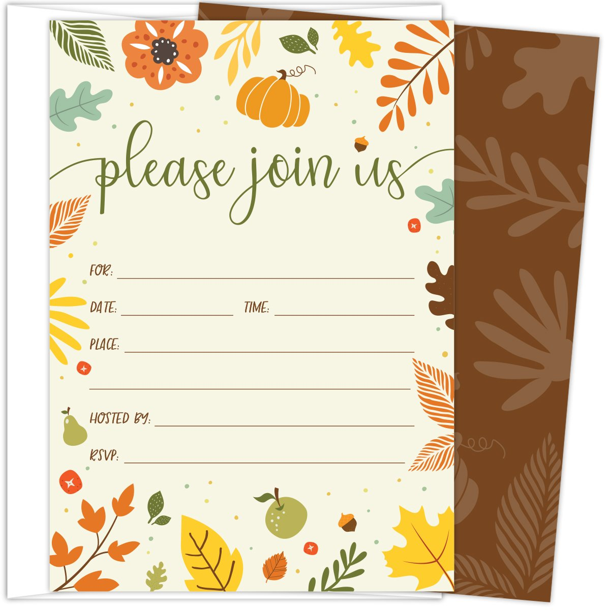 Koko Paper Co Fall Invitations in Autumn Colors with Pumpkin, Fruits and Florals. 25 Fill In Style Cards and Envelopes for Thanksgiving, Harvest Party, Birthday, Engagement, Bridal and Baby Shower, or by Koko Paper Co (Image #1)