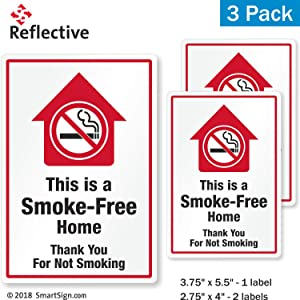 SmartSign This is A Smoke Free Home Stickers, Thank You for Not Smoking Decals | Pack of 3 EG Reflective Adhesive Decals/Labels/Stickers