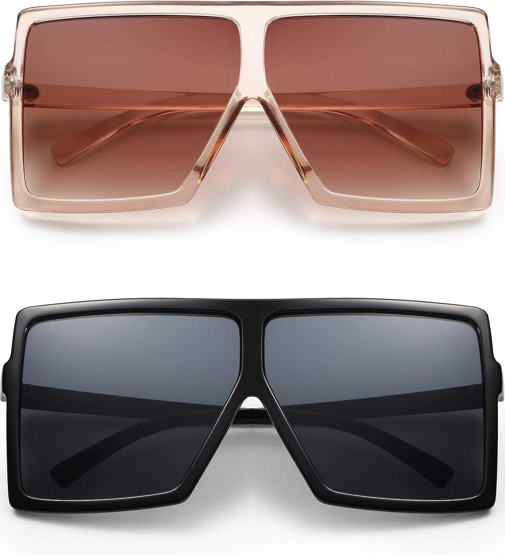 2 Pairs Square Oversized Sunglasses for Women Man Fashion Flat Top Sunglasses