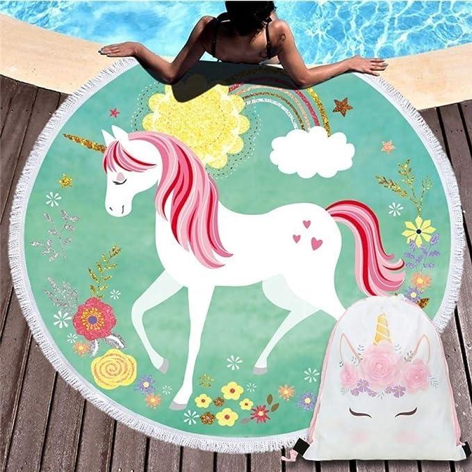 MinegRong Color de Dibujos Animados Unicornio Redondo Playa Toalla de baño 150 cm 450 g Microfibra Picnic Mat-150 * 150 cm * 1 unids 17: Amazon.es: Hogar