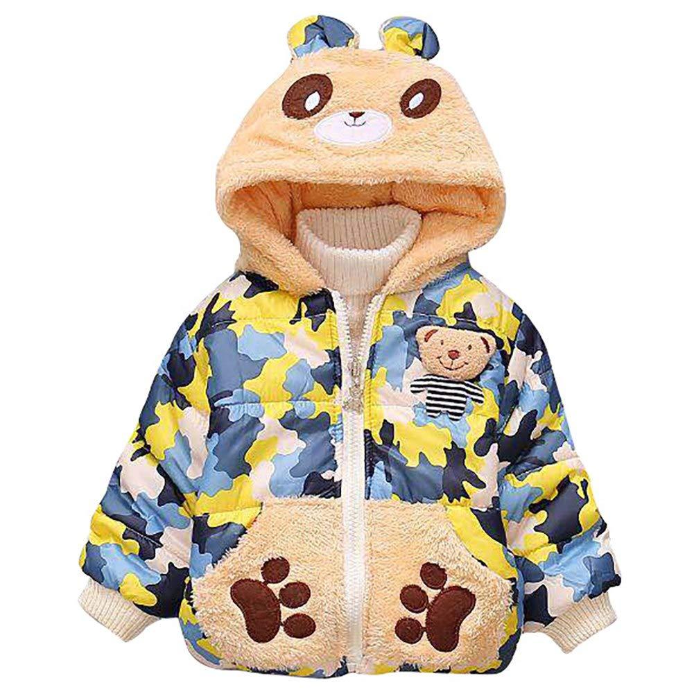 Happy childhood Toddler Baby Girl Boy Kids Warm Cartoon Coat Winter Little Bear Jacket Outerwear Hoodie