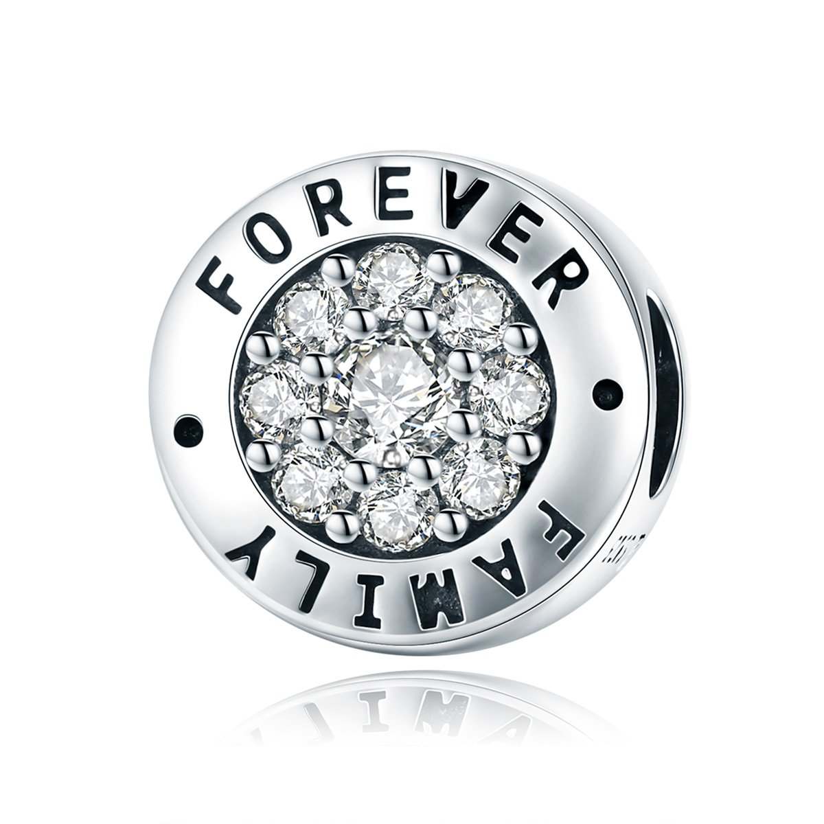 WOSTU 925 Sterling Silver Family Forever Bead Charms fit Charm Bracelets Cubic Zirconia Pendant Charms by WOSTU