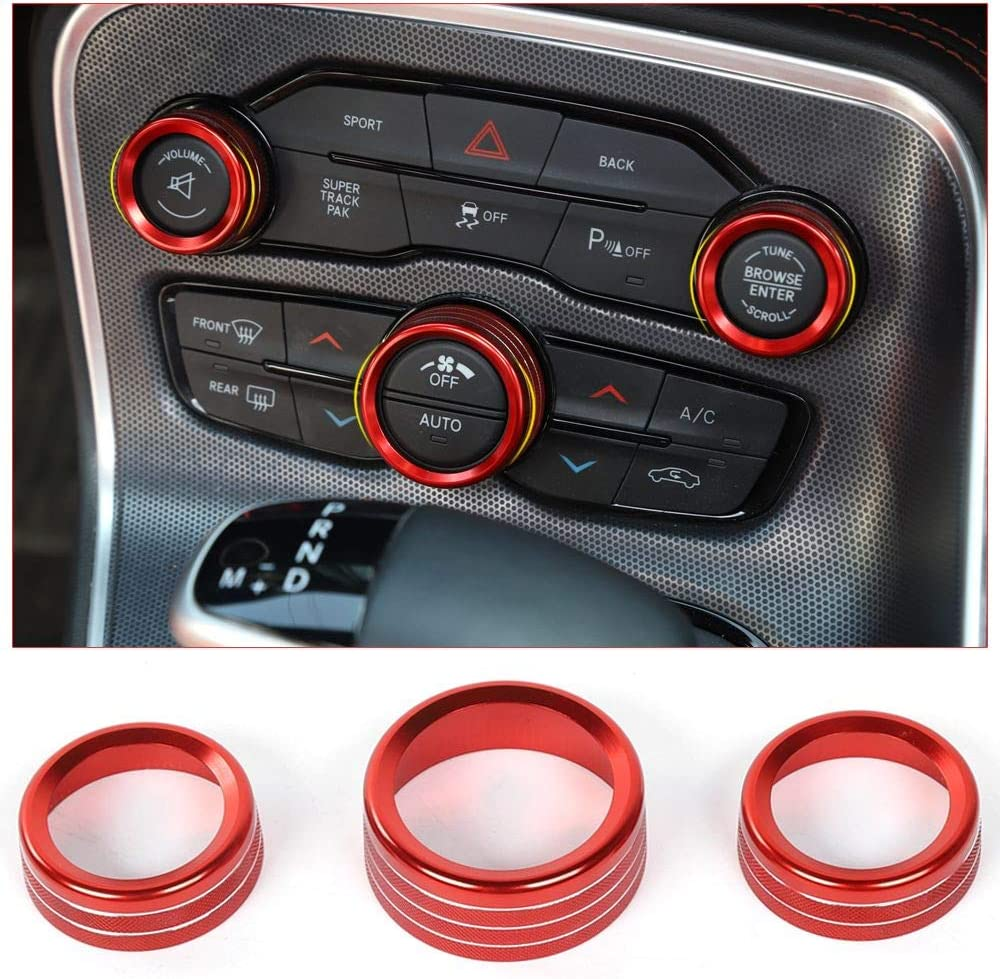 for Dodge Charger Challenger Durango 2015-2020 Interior Accessories Air Conditioning Button Cover Decoration Twist Switch Ring Trim CNC Aluminum Alloy Black