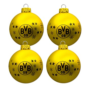 Christbaumkugeln Gelb.Borussia Dortmund Christbaumkugeln Weihnachtskugeln 4er Set