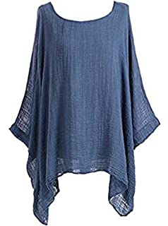 3506c5b47d0c Womens Cheese Cloth Loose Fit Batwing Holidays Beach Cotton Kimono Sleeve  Baggy Top…
