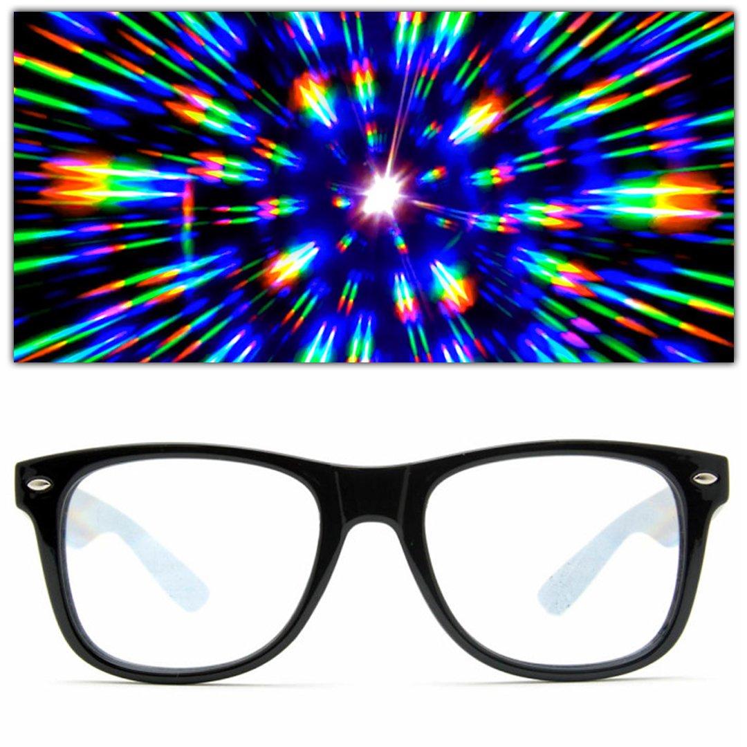 6490f056e7 Amazon.com  GloFX Ultimate Diffraction Glasses - Black - 3D Prism Effect  EDM Rainbow