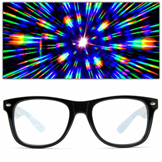 2f78e8ef706 GloFX Ultimate Diffraction Glasses - Black - 3D Prism Effect EDM  Rainbow