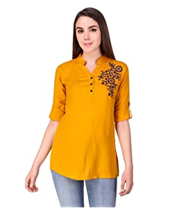 Elyraa Yellow Women Girls Top/Short Tunics Embroidered Cotton Top for Dailywear Casual Women/Girls Tops (Yellow, Large)