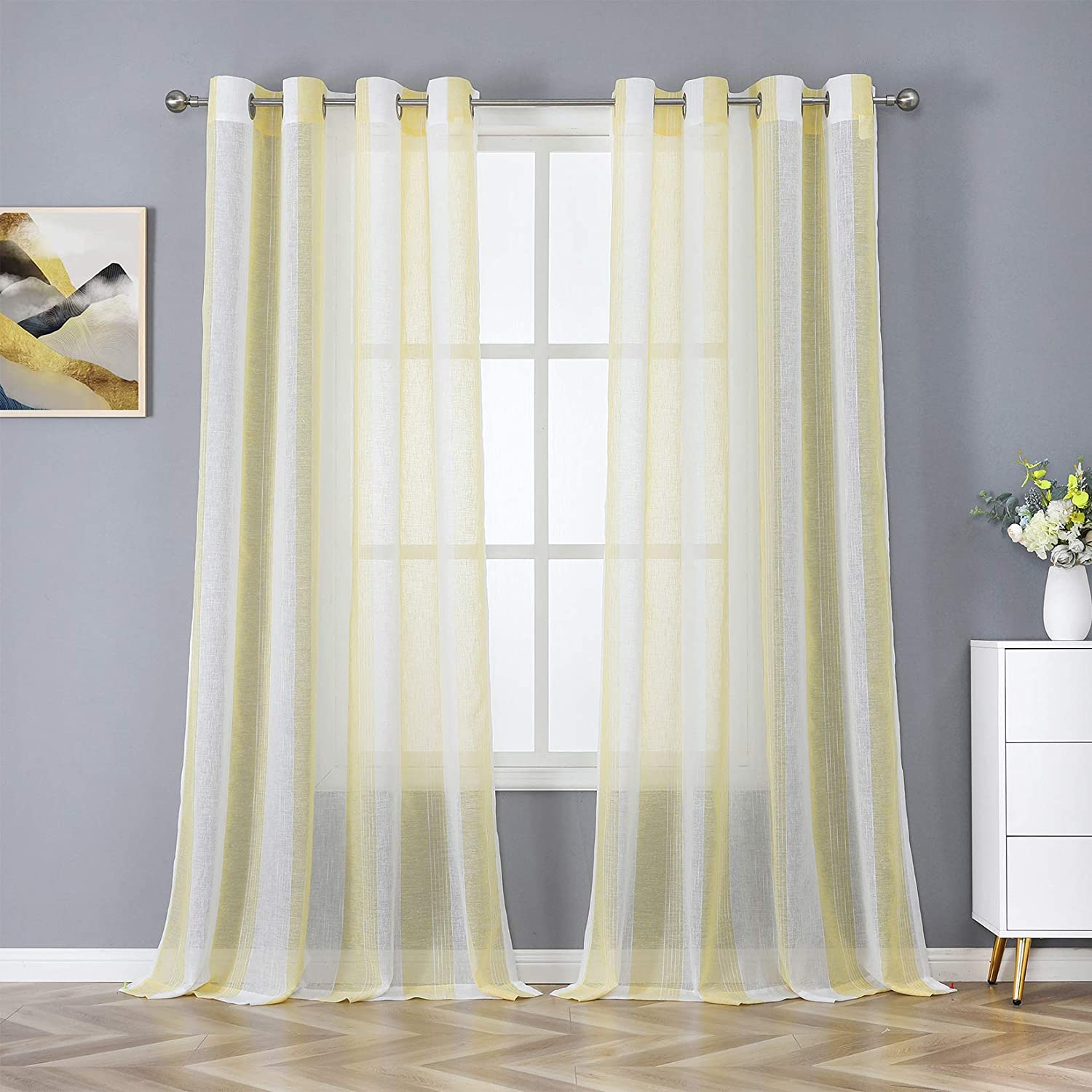 Haperlare Yellow and White Sheer Curtains 84 inches Kids Room Vertical Striped Sheer Drapes Farmhouse Yarn Dyed Faux Linen Textured Home Decor Window Covering for Living Room, 2 Panels
