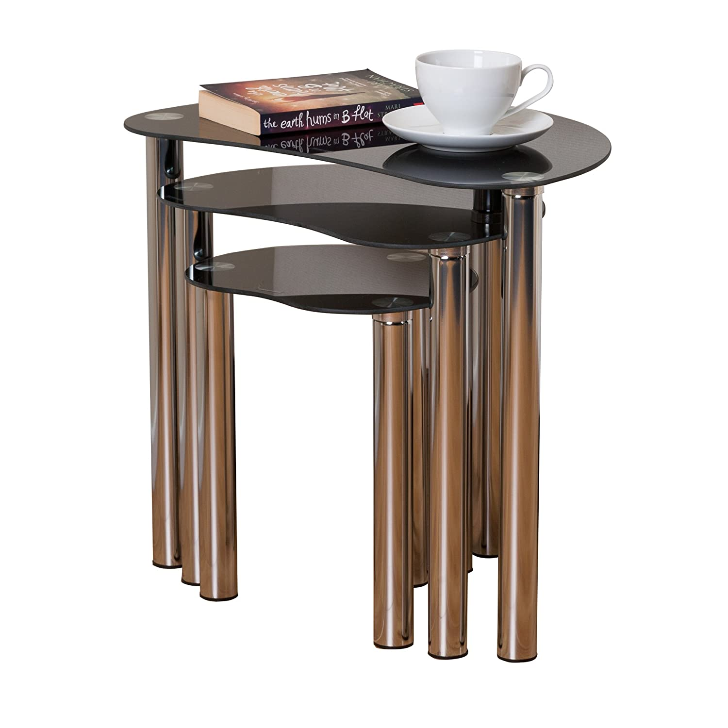 ASPECT Corona Black Glass Chrome Plated Nest Of 3 Coffee Table Set occasional tables The More Shop GNT02C