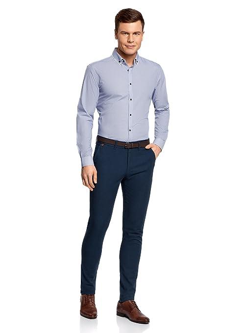oodji Ultra Hombre Pantalones de Algodón con Cinturón: Amazon.es: Ropa y accesorios