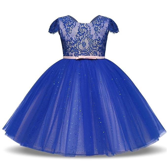 BYSTE Abito Bambina Ragazze Apri indietro scintillante Vestito da  principessa 9876a10c20d
