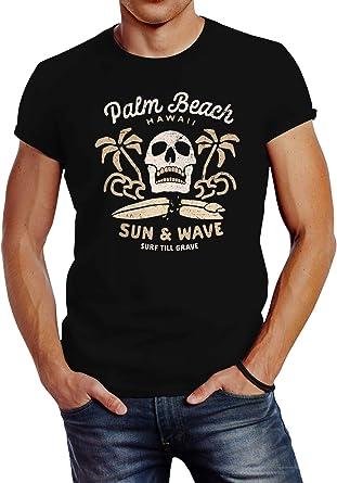 Neverless® Palm Beach - Camiseta para hombre, diseño de calavera