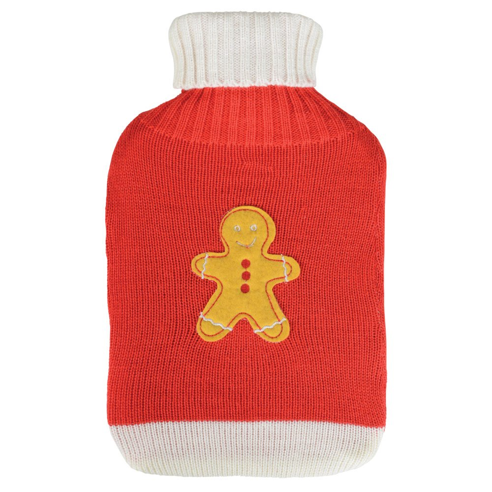 Thermotherapy Hot Water Bottle Red & Cream Sweater Cover With Gingerbread Man Beamfeature