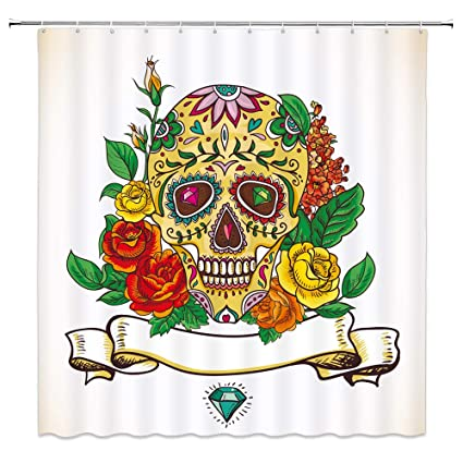 AMFD Sugar Skull Shower Curtain Yellow Rose Flower Design Beautiful Unique Tapestry Bathroom Curtains Polyester Fabric