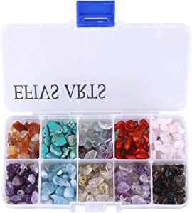 Efivs Arts Gemstone Beads, Irregular Chips Stone Beads Assorted Loose Beads Crystal Energy Stone Healing Power for Jewelry Making (Plastic Box Included)