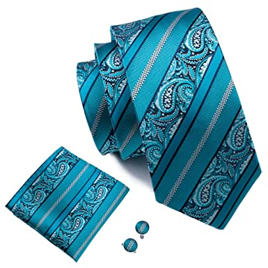 309de5f1e115 Hi-Tie Teal Silk Tie for Men Fashion Paisley Set: Amazon.co.uk: Clothing