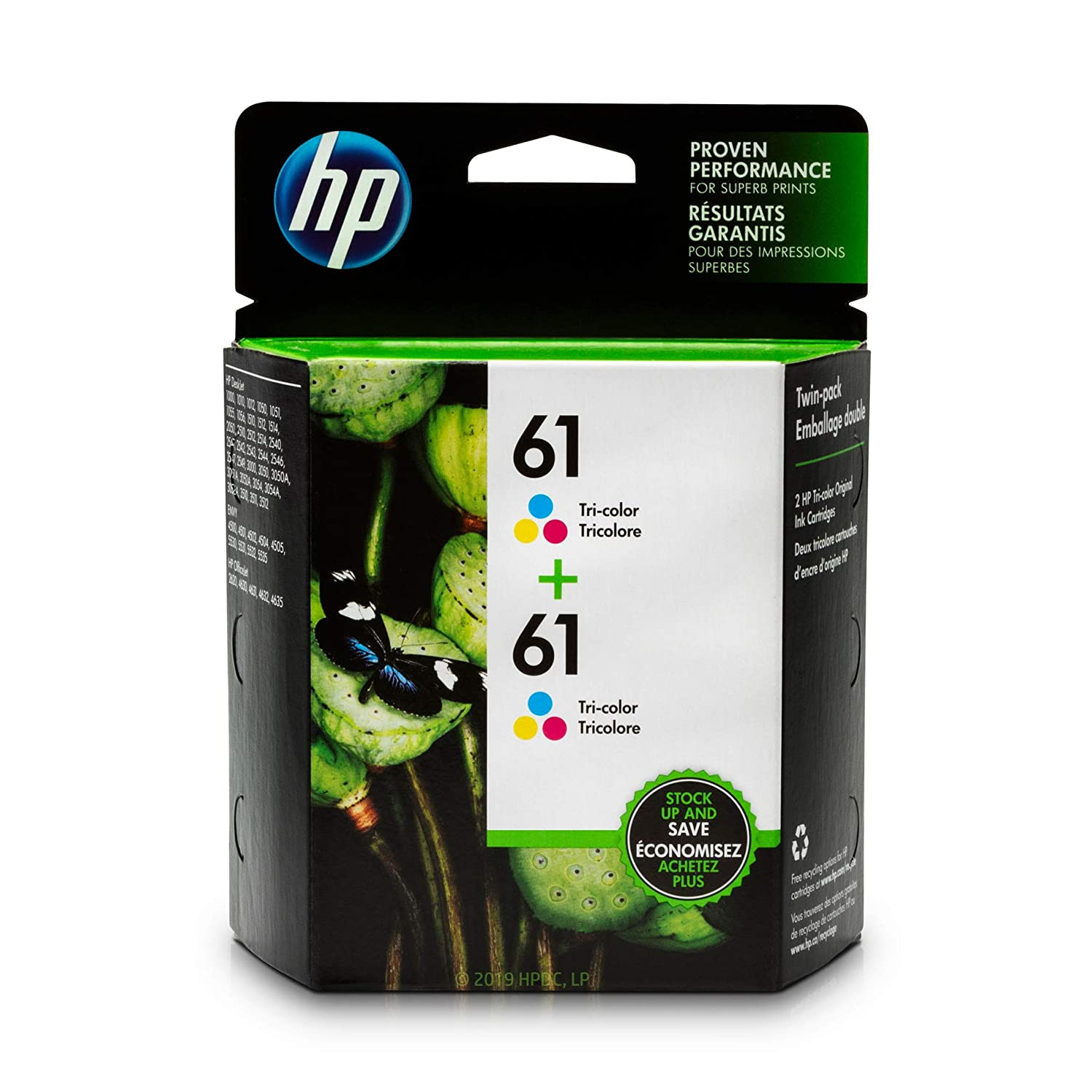 HP 61 Tri-color Ink Cartridge (CH562WN), 2 Ink Cartridges (CZ074FN) for HP Deskjet 1000 1010 1012 1050 1051 1055 1056 1510 1512 1514 1051 2050 2510 2512 2514 2540 2541