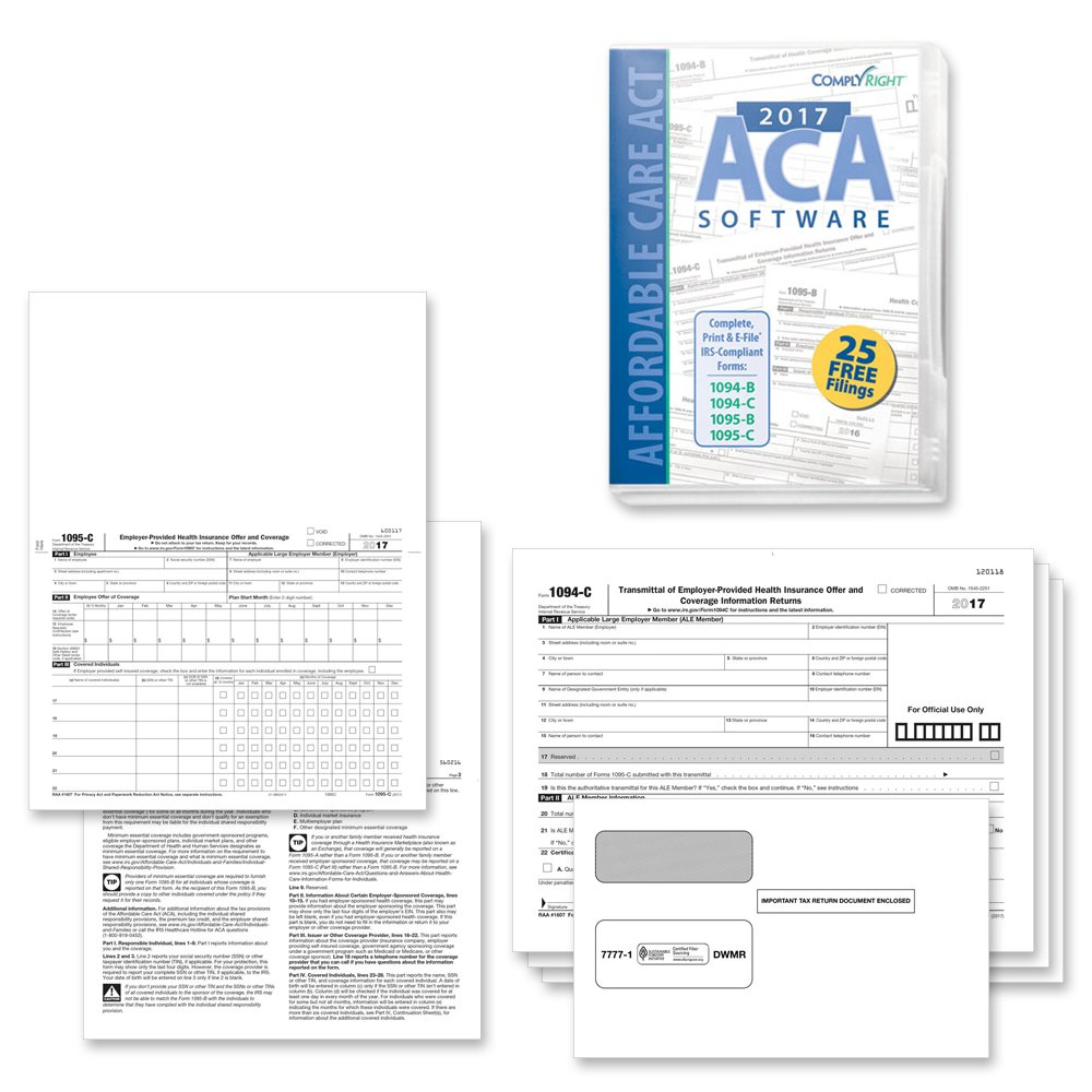 Form 1095-C Health Coverage and Envelopes with ACA Software (includes 3 1094-B transmittal forms), Pack of 200 Forms