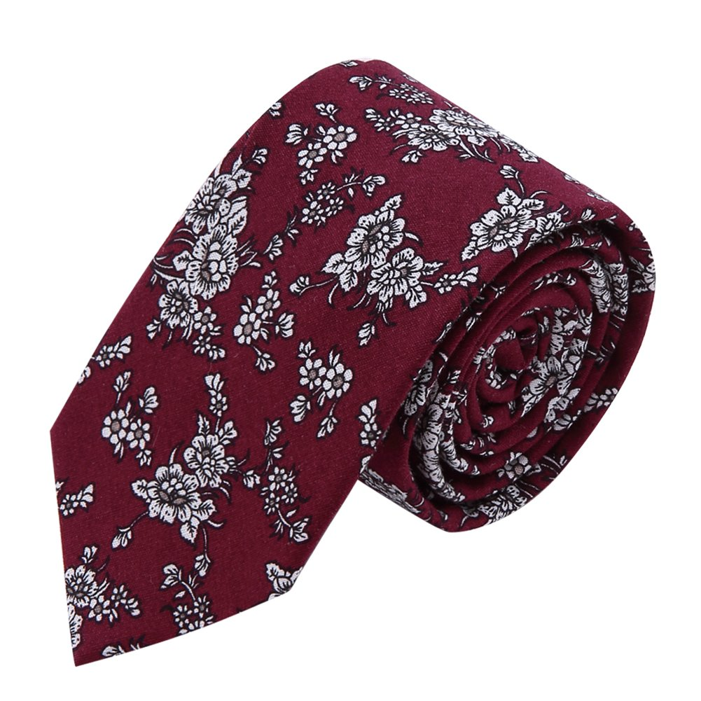 AUSKY 4 Packs Mens Ties Fashion Floral Printed Cotton Slim Skinny Neckties (Floral F) by AUSKY (Image #3)