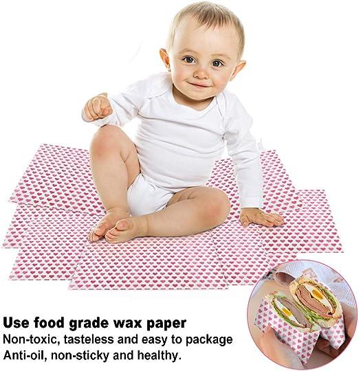 papel de envasado de alimentos para pasteles de hamburguesa impermeable pa/ños de cera de abejas pan RMENOOR 100 piezas de papel encerado