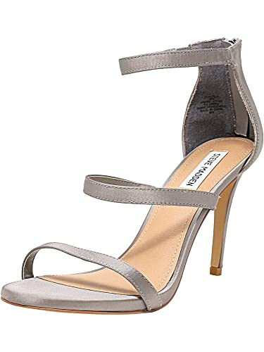 bb7fe0fd9509 Steve Madden Womens Feelya Satin Stiletto Dress Sandals Silver 7 Medium (B