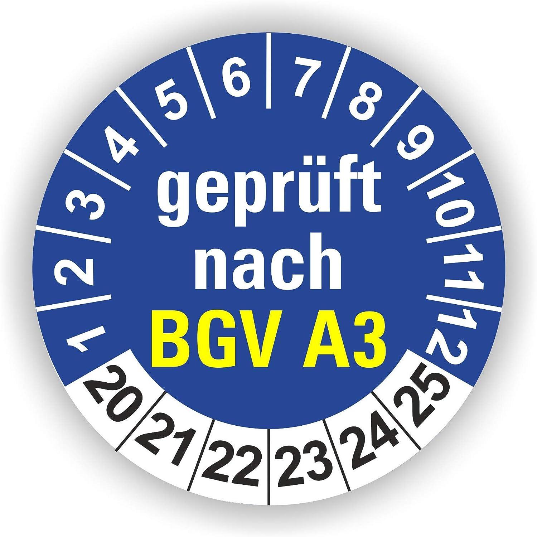 Gelb 250 St/ück 5-1.000 St/ück Pr/üfplaketten Pr/üfetiketten Wartungsetiketten BGV A3 Pr/üfung /Ø 30mm