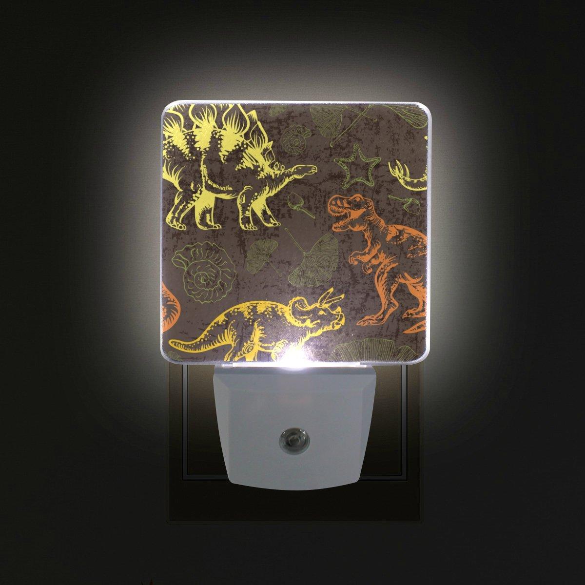 GIOVANIOR Jurassic Dinosaur Plug in Dusk to Dawn Light Sensor LED Night Light Wall Light for Bedroom, Bathroom, Hallway, Stairs, Energy Efficient
