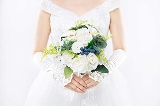 Amazon Com Abbie Home White Rose Wedding Bridal Bouquet For