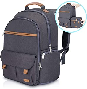 "Endurax Waterproof Camera Backpack for Women and Men Fits 15.6"" Laptop with Build-in DSLR Shoulder Photographer Bag Gray (Dark Gray)"