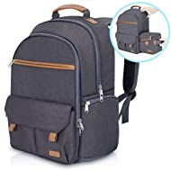 "Endurax Waterproof Camera Backpack for Women and Men Fits 15.6"" Laptop with Build-in DSLR Shoulder Photographer Bag Dark Gray"
