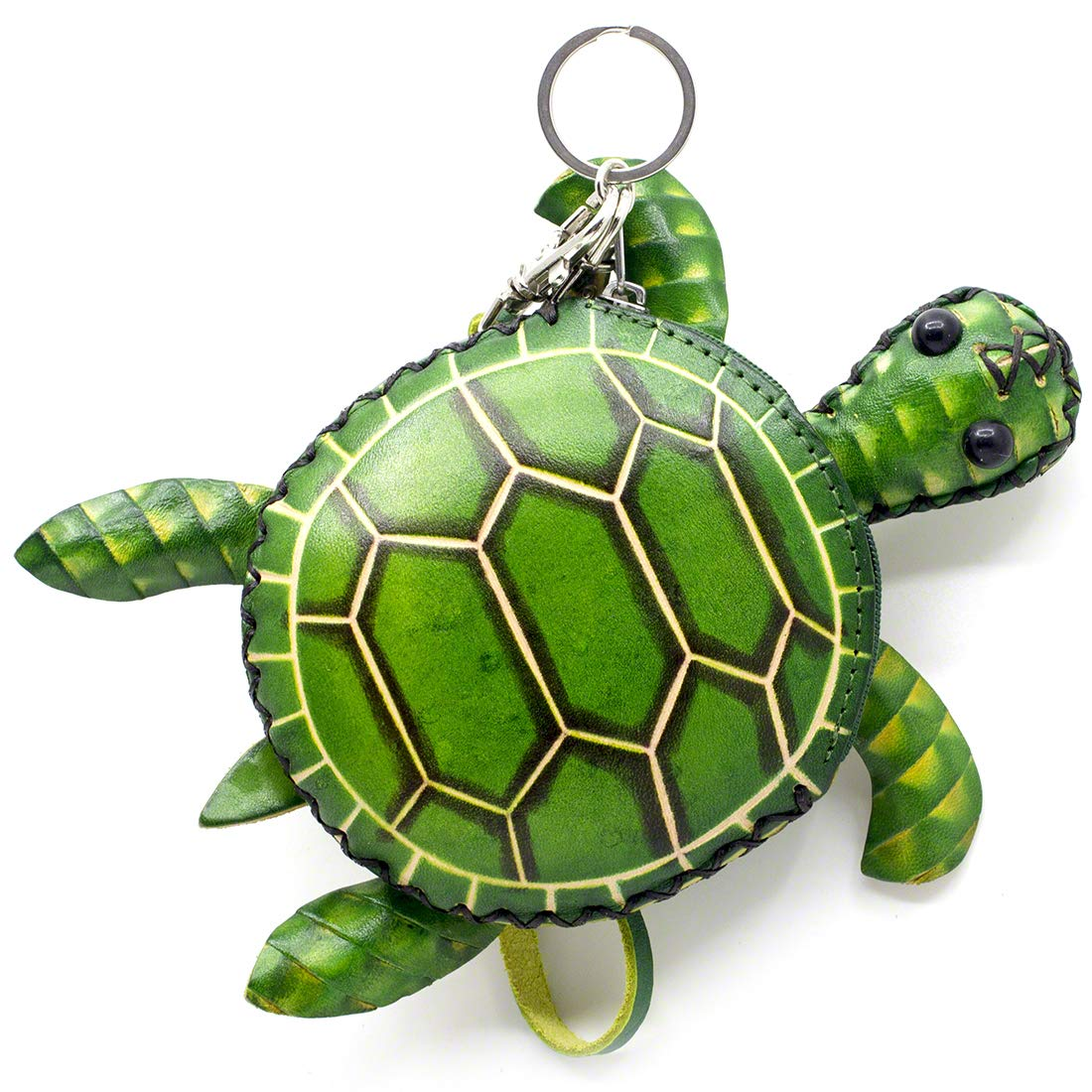 Turtle Design Genuine Handcrafted Wristlets Cash Coin Purses with Key Ring for Womens Green